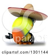 Clipart Of A 3d Mexican Toucan Bird Wearing A Sombrero Hat And Presenting Royalty Free Illustration