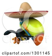 Clipart Of A 3d Mexican Toucan Bird Wearing A Sombrero Hat Flying And Pointing Right Royalty Free Illustration