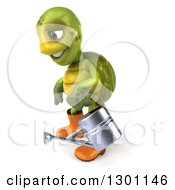 Clipart Of A 3d Tortoise Turtle Gardener In Rubber Boots Facing Left And Holding A Watering Can Royalty Free Illustration