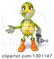 Clipart Of A 3d Tortoise Turtle Gardener In Rubber Boots Presenting And Holding A Watering Can Royalty Free Illustration