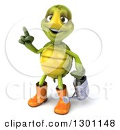 Clipart Of A 3d Tortoise Turtle Gardener In Rubber Boots Holding Up A Finger And A Watering Can Royalty Free Illustration