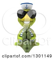Clipart Of A 3d Tortoise Turtle Sailor Meditating And Wearing Sunglasses Royalty Free Illustration