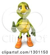 Clipart Of A 3d Tortoise Turtle Gardener In Rubber Boots And Giving A Thumb Up Royalty Free Illustration