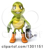 Clipart Of A 3d Tortoise Turtle Gardener In Rubber Boots Holding A Watering Can Royalty Free Illustration by Julos