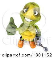Clipart Of A 3d Tortoise Turtle Gardener In Rubber Boots Holding A Watering Can And Holding A Thumb Up Royalty Free Illustration