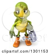 Clipart Of A 3d Tortoise Turtle Gardener In Rubber Boots Holding A Watering Can 2 Royalty Free Illustration