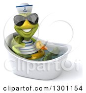 Clipart Of A 3d Tortoise Turtle Sailor Wearing Sunglasses Facing Right Sitting And Wearing A Duck Inner Tube In A Tub 2 Royalty Free Illustration by Julos
