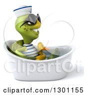 Clipart Of A 3d Tortoise Turtle Sailor Wearing Sunglasses Facing Right Sitting And Wearing A Duck Inner Tube In A Tub 3 Royalty Free Illustration