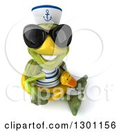 Clipart Of A 3d Tortoise Turtle Sailor Wearing Sunglasses Facing Right Sitting And Wearing A Duck Inner Tube And Smiling Upwards Royalty Free Illustration