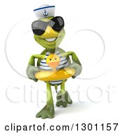 Clipart Of A 3d Tortoise Turtle Sailor Wearing Sunglasses Walking And Wearing A Duck Inner Tube Royalty Free Illustration