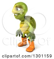 Clipart Of A 3d Tortoise Turtle Gardener In Rubber Boots And Facing Left Royalty Free Illustration