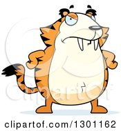 Clipart Of A Cartoon Angry Mad Chubby Sabertooth Tiger With Hands On His Hips Royalty Free Vector Illustration by Cory Thoman