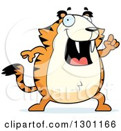 Clipart Of A Cartoon Smart Happy Chubby Sabertooth Tiger With An Idea Royalty Free Vector Illustration by Cory Thoman