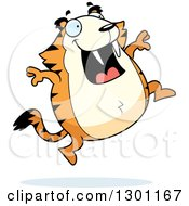 Clipart Of A Cartoon Happy Chubby Sabertooth Tiger Jumping Royalty Free Vector Illustration by Cory Thoman