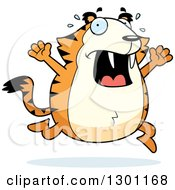 Clipart Of A Cartoon Scared Chubby Sabertooth Tiger Running And Screaming Royalty Free Vector Illustration by Cory Thoman