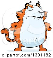 Clipart Of A Cartoon Angry Mad Chubby Tiger With Hands On His Hips Royalty Free Vector Illustration