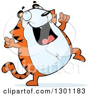 Clipart Of A Cartoon Happy Chubby Tiger Dancing Royalty Free Vector Illustration