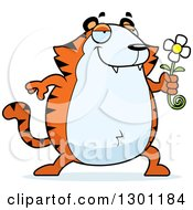 Clipart Of A Cartoon Romantic Chubby Tiger Giving A Flower Royalty Free Vector Illustration