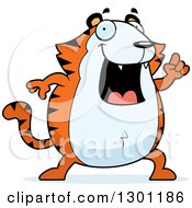 Clipart Of A Cartoon Happy Smart Chubby Tiger With An Idea Royalty Free Vector Illustration