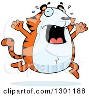 Clipart Of A Cartoon Scared Screaming Chubby Tiger Running Royalty Free Vector Illustration