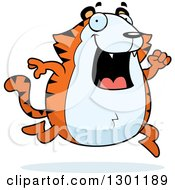 Clipart Of A Cartoon Happy Chubby Tiger Running Royalty Free Vector Illustration