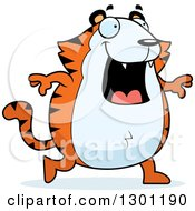 Clipart Of A Cartoon Happy Chubby Tiger Walking Royalty Free Vector Illustration