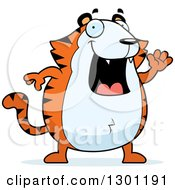 Clipart Of A Cartoon Happy Friendly Chubby Tiger Waving Royalty Free Vector Illustration