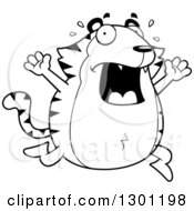 Outline Clipart Of A Cartoon Black And White Scared Screaming Chubby Tiger Running Royalty Free Lineart Vector Illustration by Cory Thoman