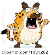 Clipart Of A Cartoon Happy Friendly Chubby Hyena Waving Royalty Free Vector Illustration by Cory Thoman