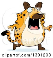 Clipart Of A Cartoon Happy Chubby Hyena Walking Royalty Free Vector Illustration by Cory Thoman