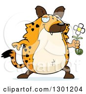Clipart Of A Cartoon Romantic Chubby Hyena Giving A Flower Royalty Free Vector Illustration