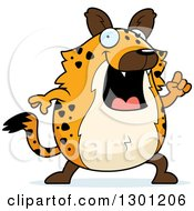 Clipart Of A Cartoon Happy Smart Chubby Hyena With An Idea Royalty Free Vector Illustration