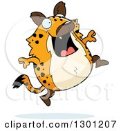 Clipart Of A Cartoon Happy Chubby Hyena Jumping Royalty Free Vector Illustration