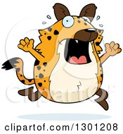Clipart Of A Cartoon Scaraed Chubby Hyena Running Royalty Free Vector Illustration
