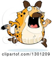 Clipart Of A Cartoon Happy Chubby Hyena Running Royalty Free Vector Illustration