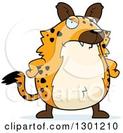 Clipart Of A Cartoon Angry Mad Chubby Hyena With Hands On His Hips Royalty Free Vector Illustration by Cory Thoman