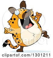 Clipart Of A Cartoon Happy Chubby Hyena Dancing Royalty Free Vector Illustration