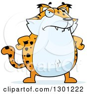 Clipart Of A Cartoon Mad Angry Chubby Bobcat Character With Hands On His Hips Royalty Free Vector Illustration by Cory Thoman