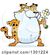 Clipart Of A Cartoon Romantic Chubby Bobcat Character Giving A Flower Royalty Free Vector Illustration by Cory Thoman