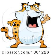 Clipart Of A Cartoon Smart Chubby Bobcat Character With An Idea Royalty Free Vector Illustration by Cory Thoman