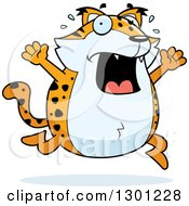 Clipart Of A Cartoon Scared Chubby Bobcat Character Running And Screaming Royalty Free Vector Illustration by Cory Thoman