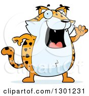 Cartoon Happy Friendly Chubby Bobcat Character Waving