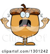 Clipart Of A Cartoon Scared Acorn Character Screaming Royalty Free Vector Illustration by Cory Thoman