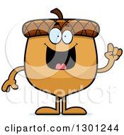 Clipart Of A Cartoon Happy Smart Acorn Character With An Idea Royalty Free Vector Illustration by Cory Thoman