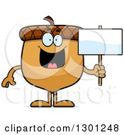 Clipart Of A Cartoon Happy Acorn Character Holding A Blank Sign Royalty Free Vector Illustration by Cory Thoman