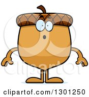 Clipart Of A Cartoon Surprised Gasping Acorn Character Royalty Free Vector Illustration