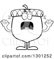 Outline Clipart Of A Cartoon Black And White Scared Acorn Character Screaming Royalty Free Lineart Vector Illustration by Cory Thoman