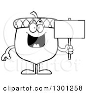 Outline Clipart Of A Cartoon Black And White Happy Acorn Character Holding A Blank Sign Royalty Free Lineart Vector Illustration by Cory Thoman