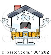 Clipart Of A Cartoon Scared Screaming Home Improvement House Character Royalty Free Vector Illustration