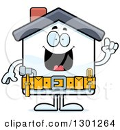 Clipart Of A Cartoon Happy Smart Home Improvement House Character With An Idea Royalty Free Vector Illustration